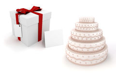 3d present box and delicious cake. On white background Royalty Free Stock Photos
