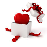 3d present box and hearts.  Royalty Free Stock Image