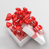 3d present box and hearts. Birthday, anniversary, wedding, valentines day concept Royalty Free Stock Image