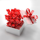 3d present box and hearts. Birthday, anniversary, wedding, valentines day concept Stock Photography