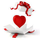 3d present box and hearts. Isolated Stock Image