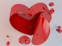 3d present box and hearts particles. In a white 3d stage Stock Photography