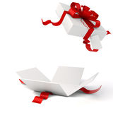 3d present box and red bow vector illustration
