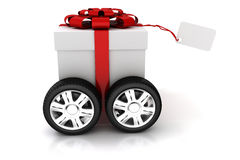3d present box with red bow on wheels Stock Images