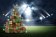 3d present boxes, christmas tree concept in the stadium royalty free illustration