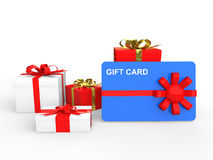 3d present boxes and gift card. 3d render of present boxes and gift card Stock Image