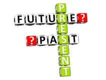 3D Present Future Past Crossword. On white background Stock Image