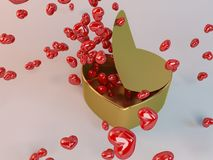 3d present golden box and hearts particles. In a white 3d stage Royalty Free Stock Image