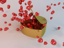 3d present golden box and hearts particles. In a white 3d stage Royalty Free Stock Photos