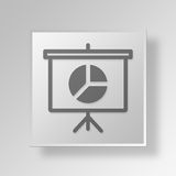 3D presentation pie chart icon Business Concept. 3D Symbol Gray Square presentation pie chart icon Business Concept Royalty Free Stock Image