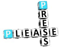 3D Press Please Crossword text. 3D Press Please Crossword over white background Royalty Free Stock Photo