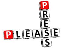 3D Press Please Crossword text. 3D Press Please Crossword over white background Royalty Free Stock Photography