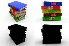 3d 2015 with previous years concept collections with alpha and shadow channel Stock Image