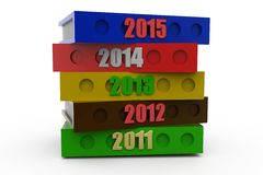 3d 2015 with previous years concept Stock Image