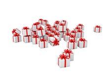 3d prezenta biali pudełka z czerwonymi faborkami Zdjęcie Royalty Free