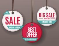3D Price Sale Label Tags Set. Vector Illustration Stock Photos