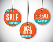 3D Price Sale Label Tags Set. Vector Illustration Royalty Free Stock Photography