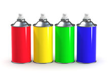 3d Primary color spraypaint cans. 3d render of spray paint cans in primary colors Royalty Free Stock Photography
