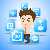 3D print concept. Cartoon businessman hold 3D print App icon Royalty Free Stock Images