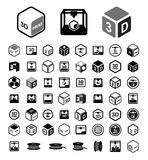 3D print icon set.  Stock Photo