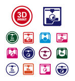 3D print icon set stock photography