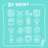 3D print icon set Stock Images