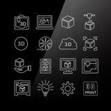3D print icon set Stock Photo