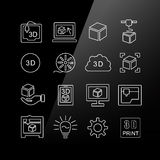 3D print icon set. Linear Series Stock Photo