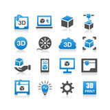 3D print icon. Set - Simplicity Series Stock Photo