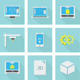 3D print icons set. Nice flat icons of 3D printing technology Royalty Free Stock Photography