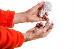 3d print and real lightbulb Stock Image