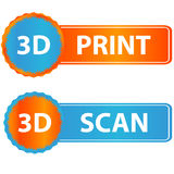 3d print and scan icons Stock Photos