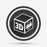 3D Print sign icon. 3d cube Printing symbol. Stock Photo
