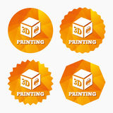 3D Print sign icon. 3d cube Printing symbol. Royalty Free Stock Photo