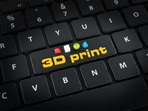 3D print text, cube, sphere, cone and pyramide standing on black keyboard.  Royalty Free Stock Image