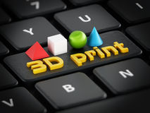 3D print text, cube, sphere, cone and pyramide standing on black keyboard.  Royalty Free Stock Photo