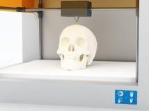 3d printed skull. 3d printing human body. 3d printed body parts, closeup view inside 3d printer Royalty Free Stock Image