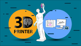3d printer. arms for Venus de Milo. 3d printing arms and clothes for Venus de Milo on 3d printer. Set flat  illustration about 3d printing, printer, filament Stock Image