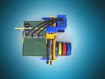 3d printer bij het hoogste 3d teruggeven op blauwe achtergrond Stock Fotografie