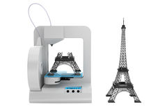 3d printer build Eiffel Tower Model Royalty Free Stock Photos