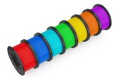3d Printer Color Filament Coils het 3d teruggeven Stock Foto's