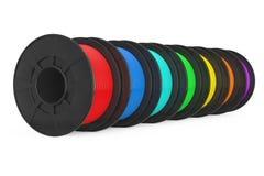 3d Printer Color Filament Coils het 3d teruggeven Royalty-vrije Stock Foto