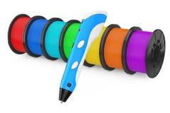 3d Printer Color Filament Coils met 3d Printin-Pen 3D renderin Stock Fotografie