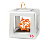 3D printer. With colorful abstract figure on white stock illustration