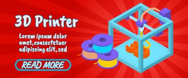 3D printer concept banner, comics isometric style. 3D printer concept banner. Isometric banner of 3D printer comics vector concept for web, giftcard and postcard stock illustration