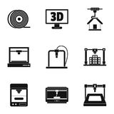 3d printer construct icon set, simple style. 3d printer construct icon set. Simple set of 9 3d printer construct vector icons for web isolated on white Stock Photos