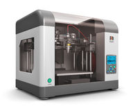 3D printer. Creative abstract new technologies concept: modern professional plastic 3D printer isolated on white background Royalty Free Stock Images