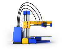 3D printer 3D render on white background Royalty Free Stock Image