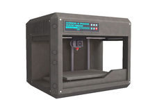 3D Printer. 3D digital render of a three dimensional printer isolated on white background Stock Photography
