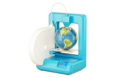 3D printer with Earth globe, 3D rendering Royalty Free Stock Photography